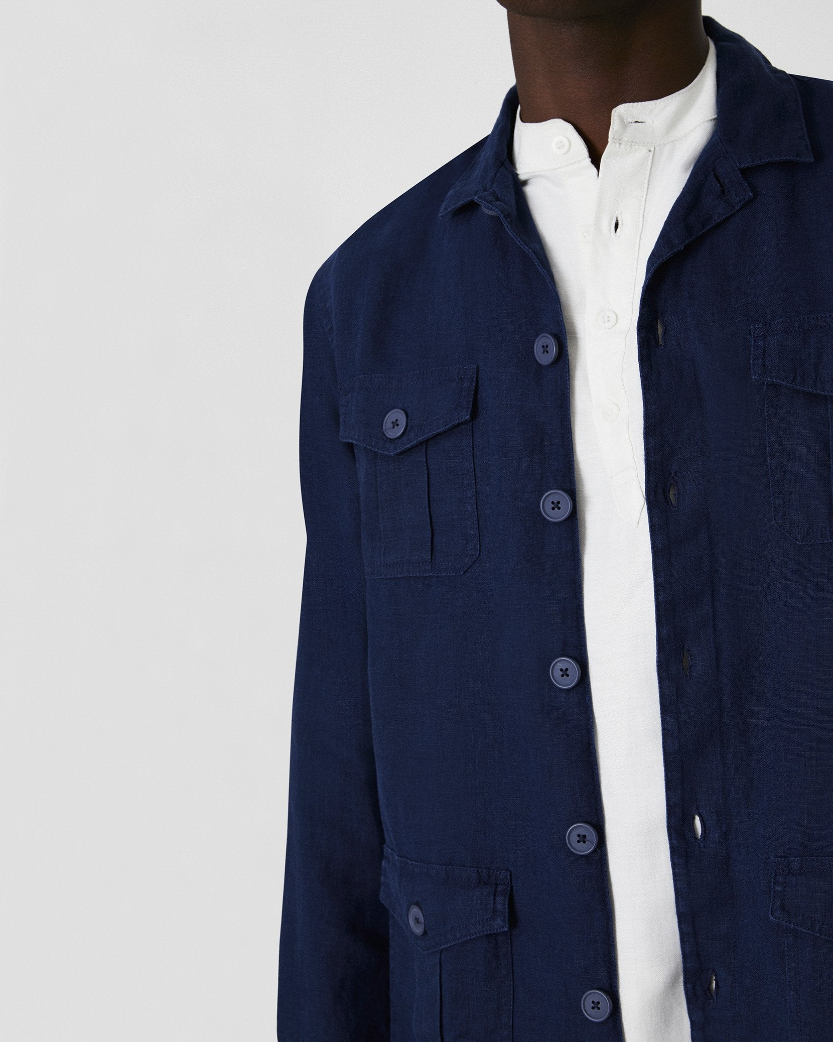 Linen Safari Jacket in Deep Navy - 12 - Onia