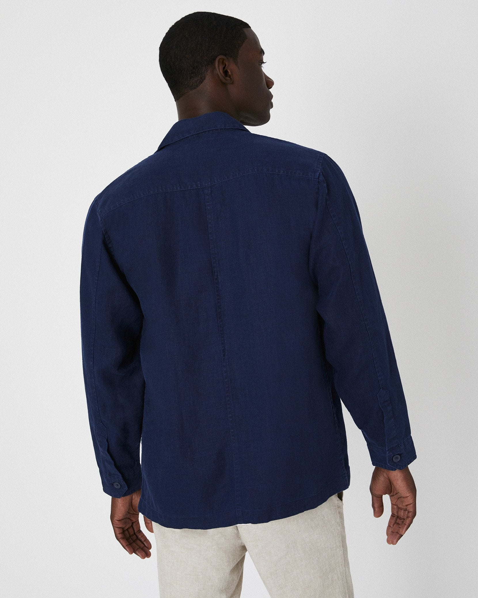 Linen Safari Jacket in Deep Navy - 13 - Onia