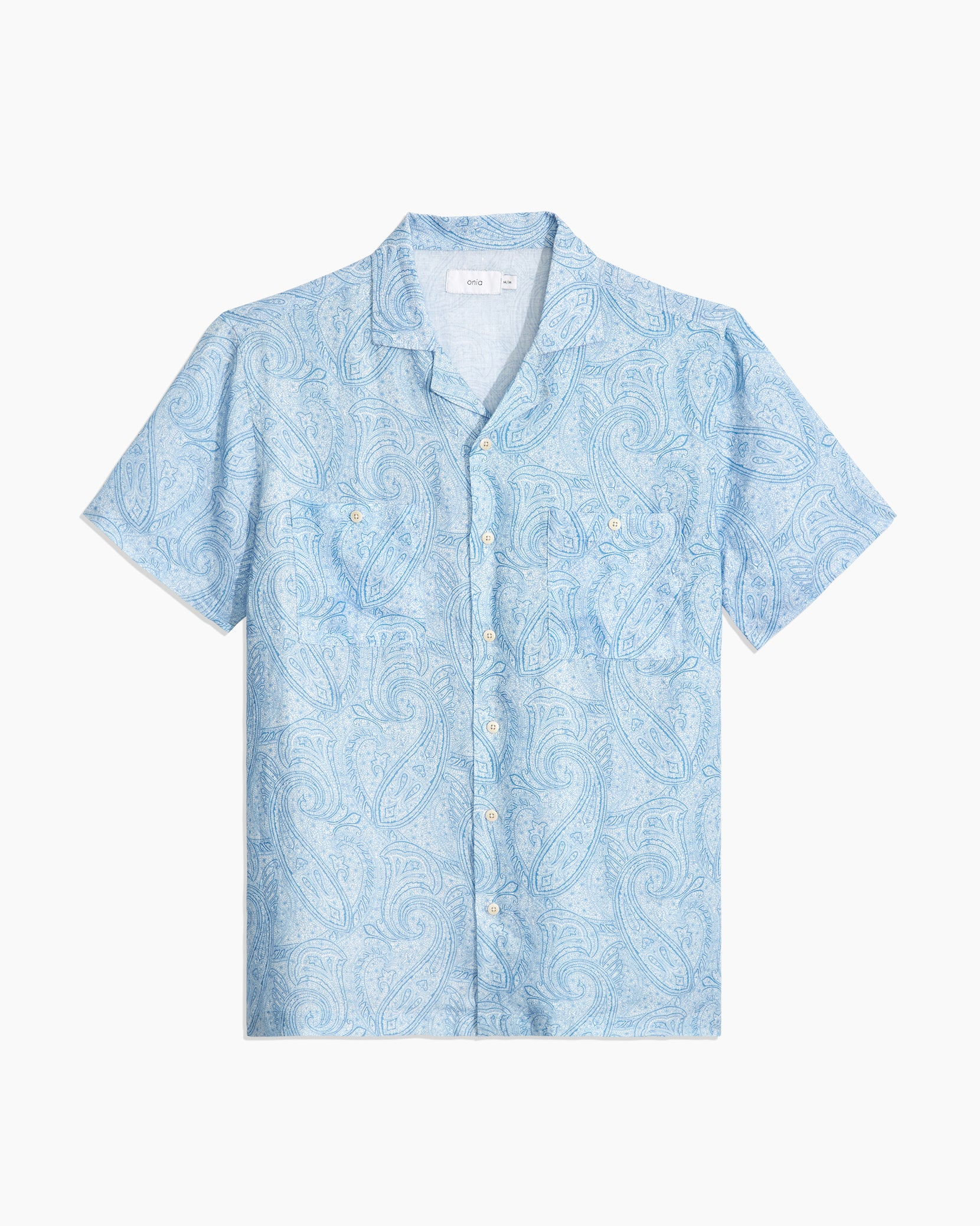 Paisley Linen Camp Shirt in Parisian Blue - 1 - Onia