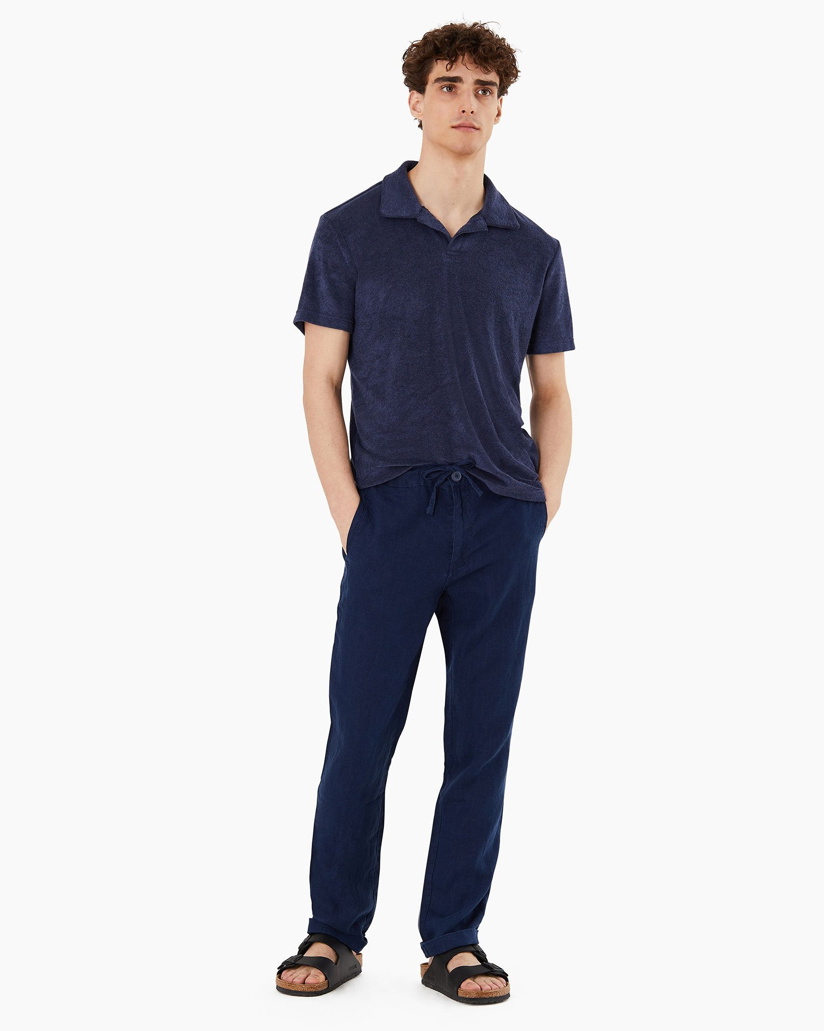 Collin Linen Pant in Deep Navy - 13 - Onia