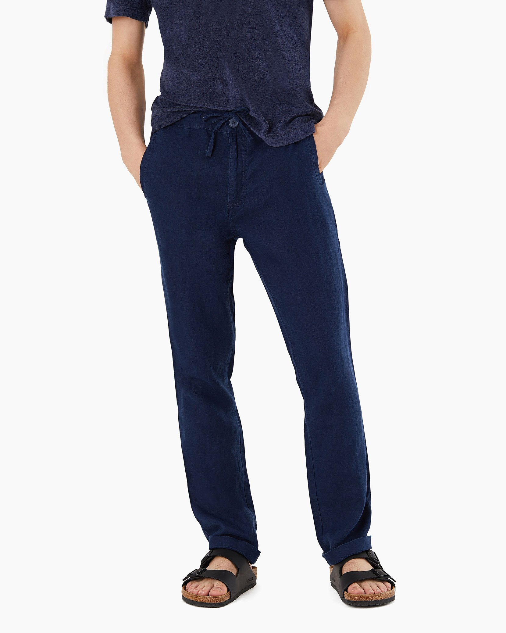 Collin Linen Pant in Deep Navy - 12 - Onia