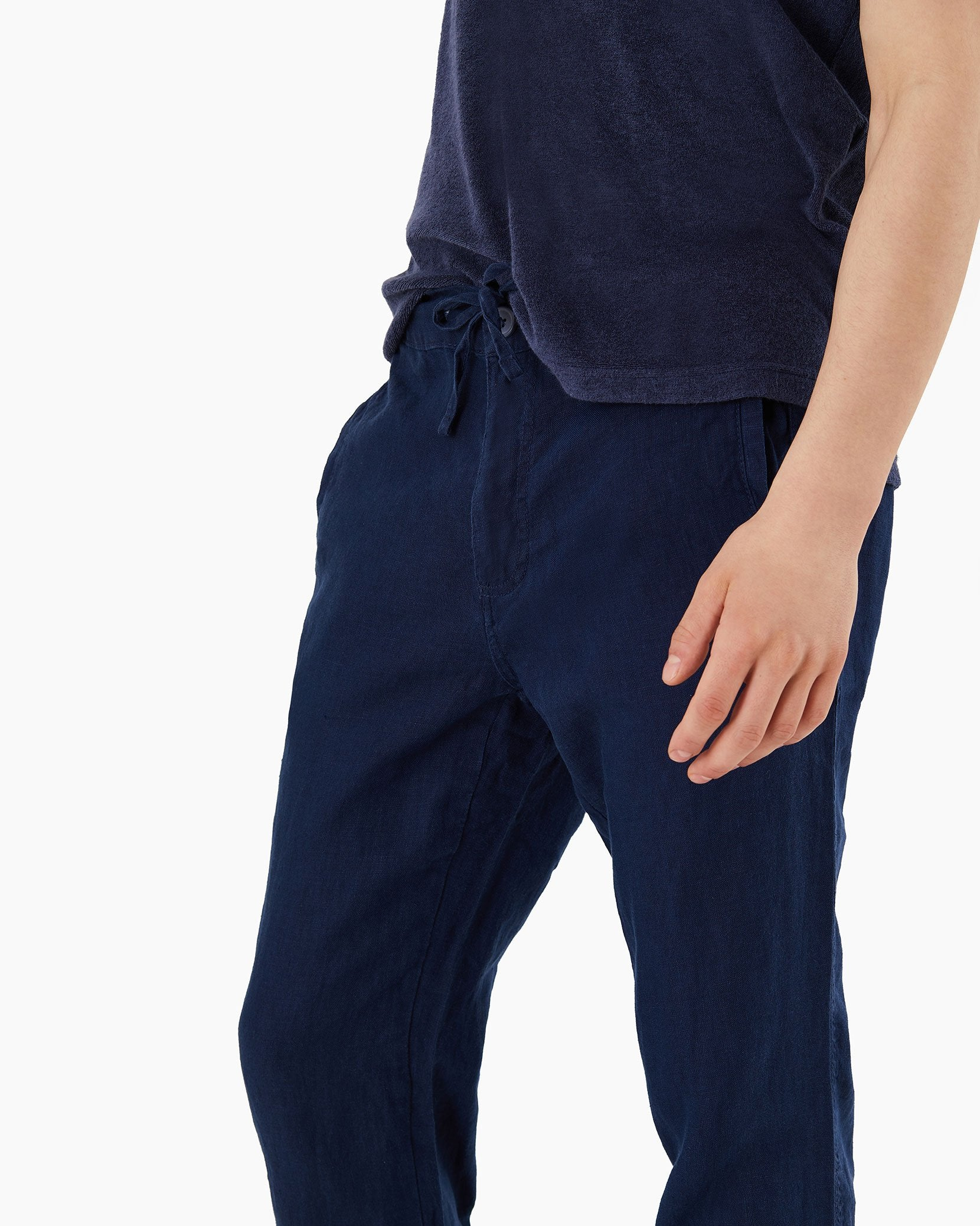 Collin Linen Pant in Deep Navy - 15 - Onia