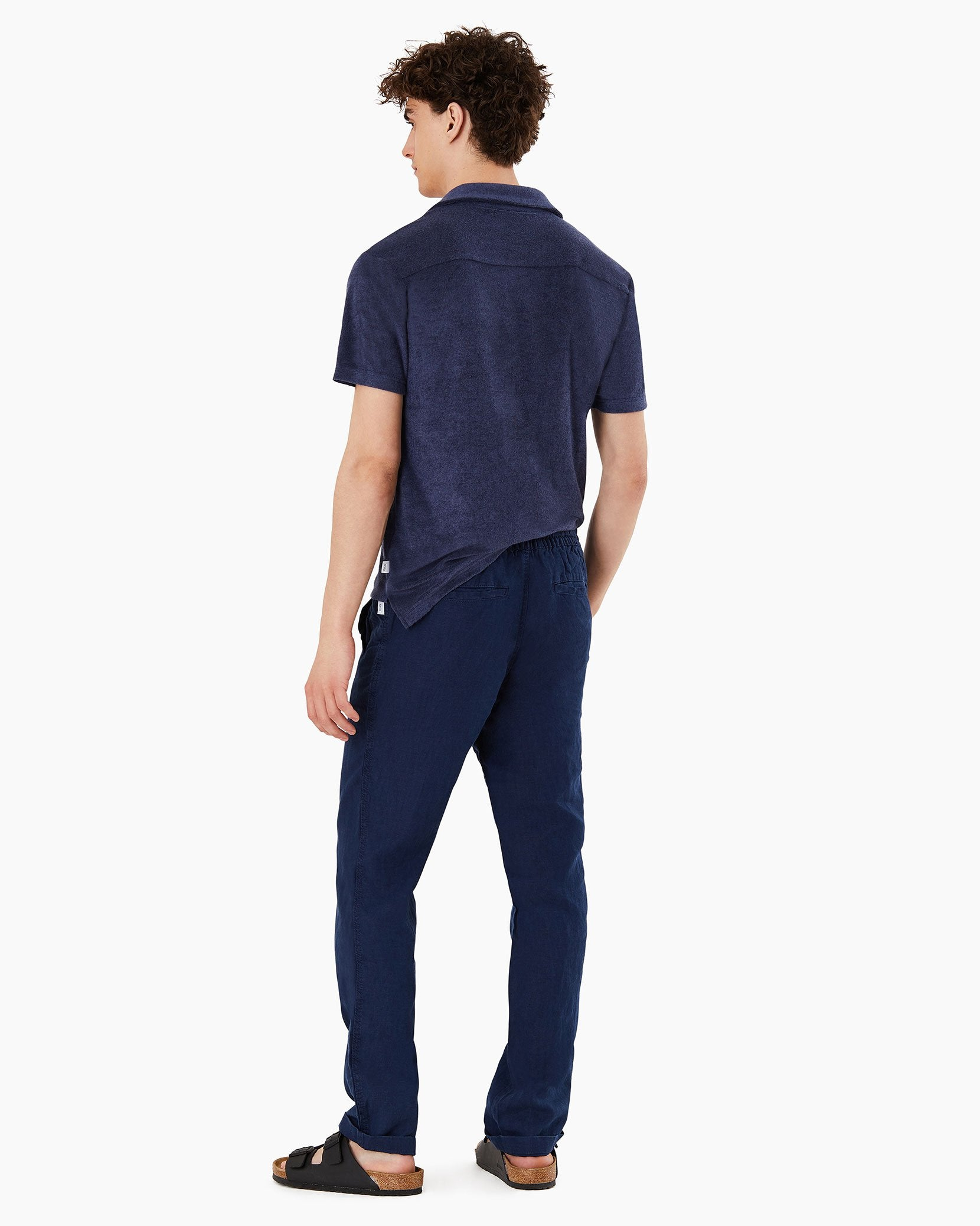 Collin Linen Pant in Deep Navy - 14 - Onia