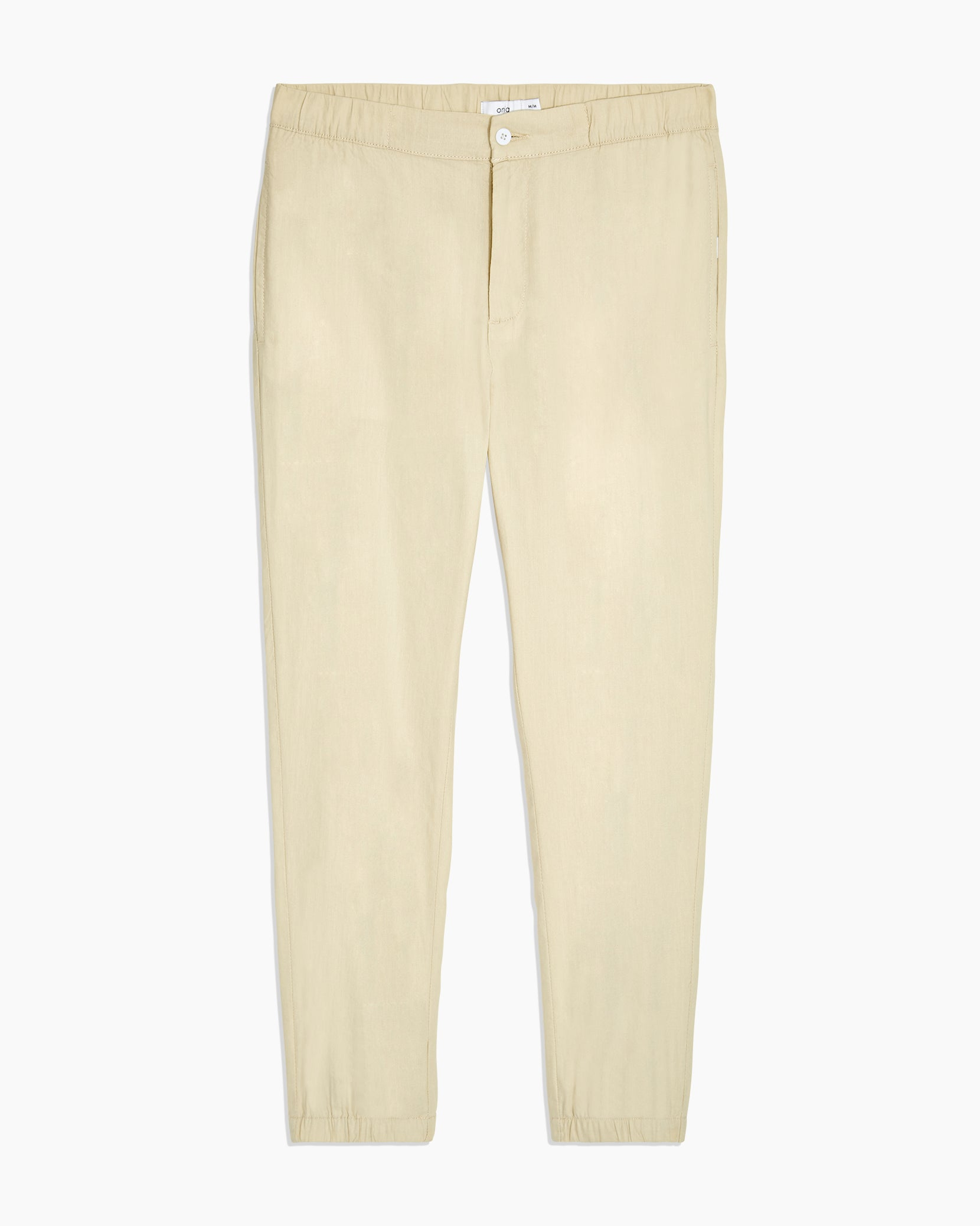 Elijah Stretch Linen Pant in Beige - 1 - Onia