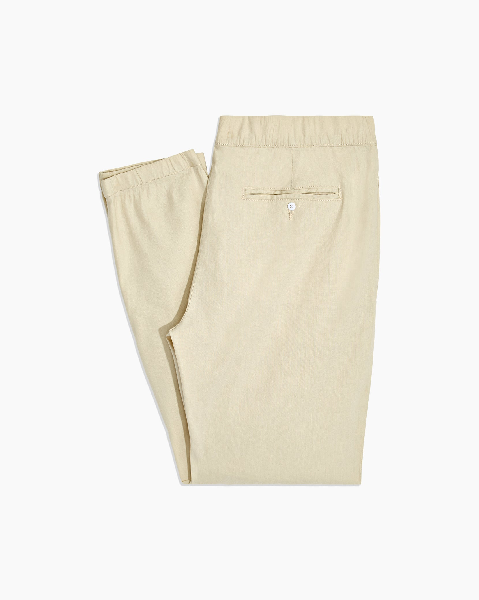 Elijah Stretch Linen Pant in Beige - 3 - Onia