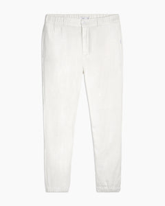 Elijah Herringbone Stretch Linen Pant in White - 1 - Onia