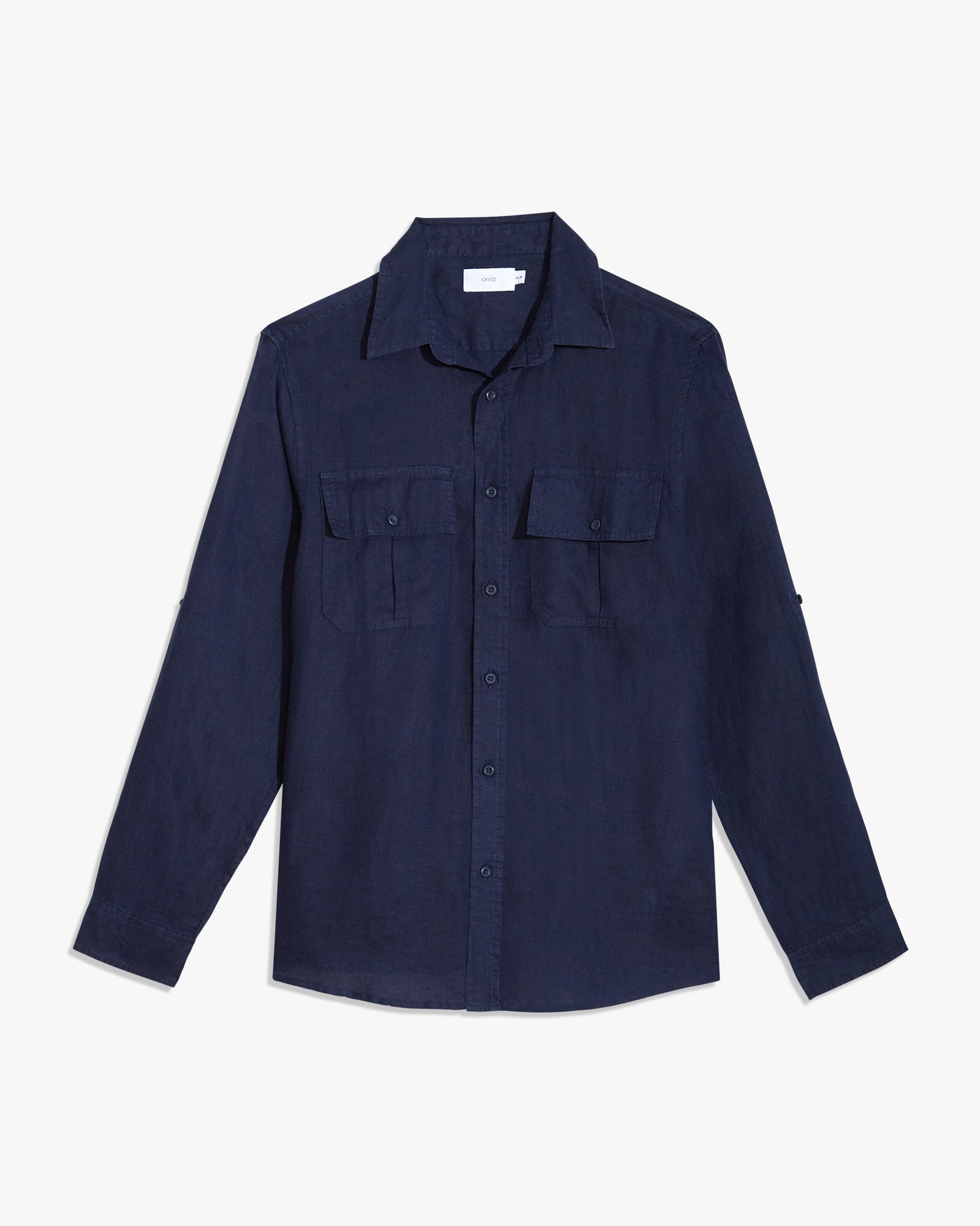 Garret Linen Shirt in Deep Navy - 8 - Onia