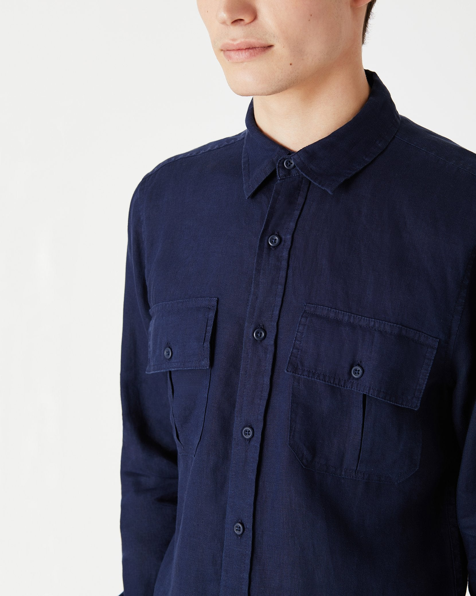 Garret Linen Shirt in Deep Navy - 7 - Onia