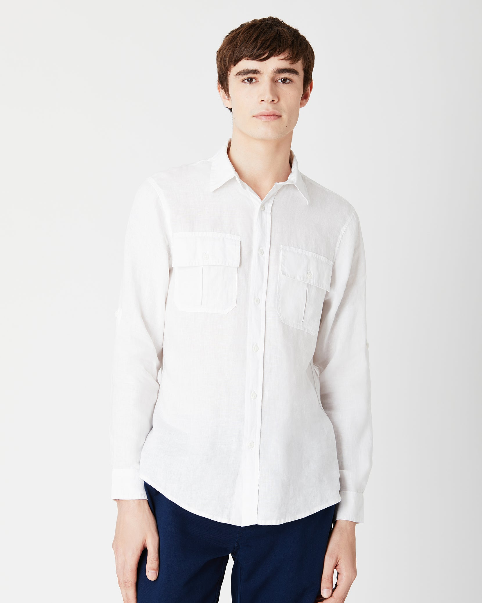 Garret Linen Shirt in White - 2 - Onia
