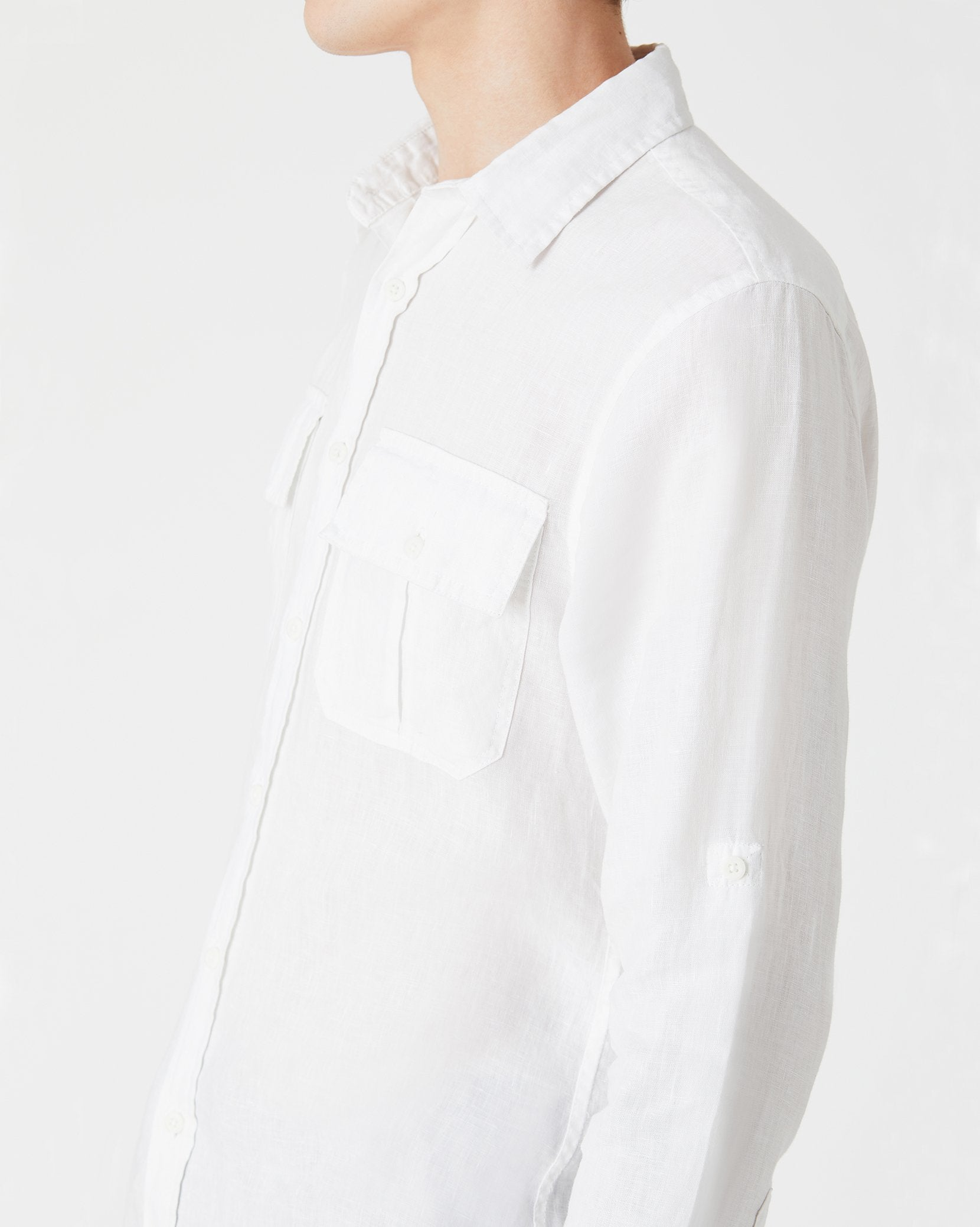 Garret Linen Shirt in White - 4 - Onia