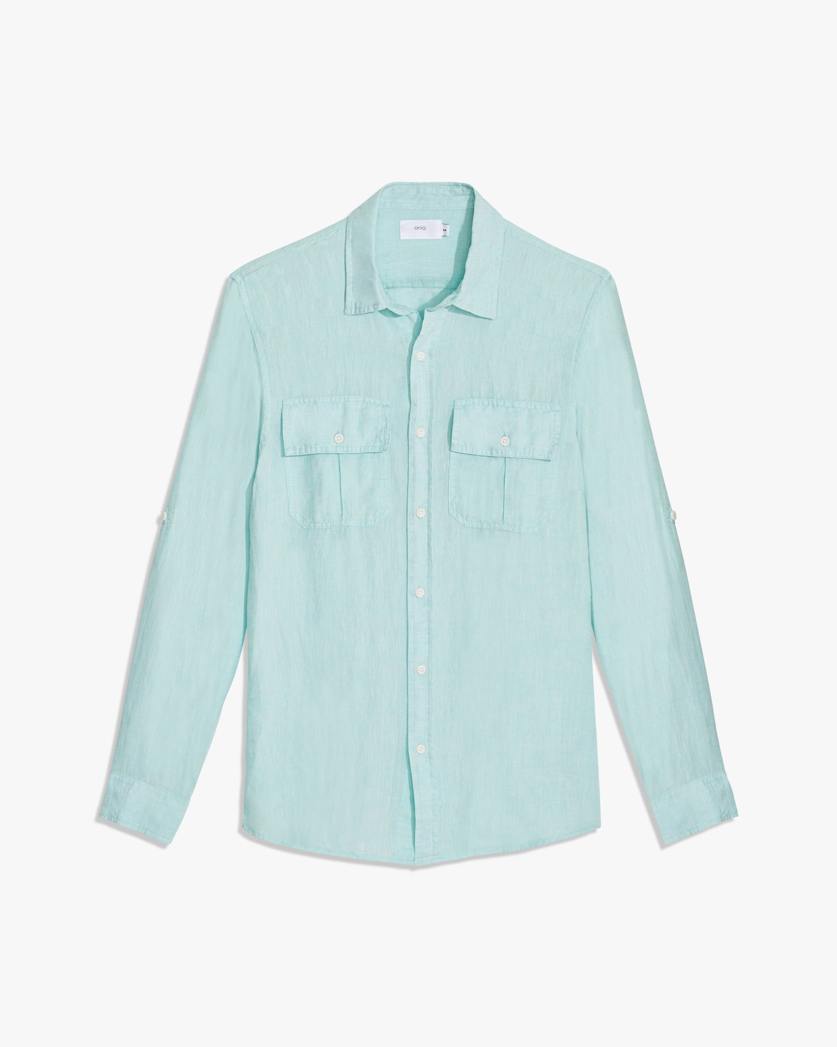 Garret Linen Shirt in Reef Blue - 9 - Onia
