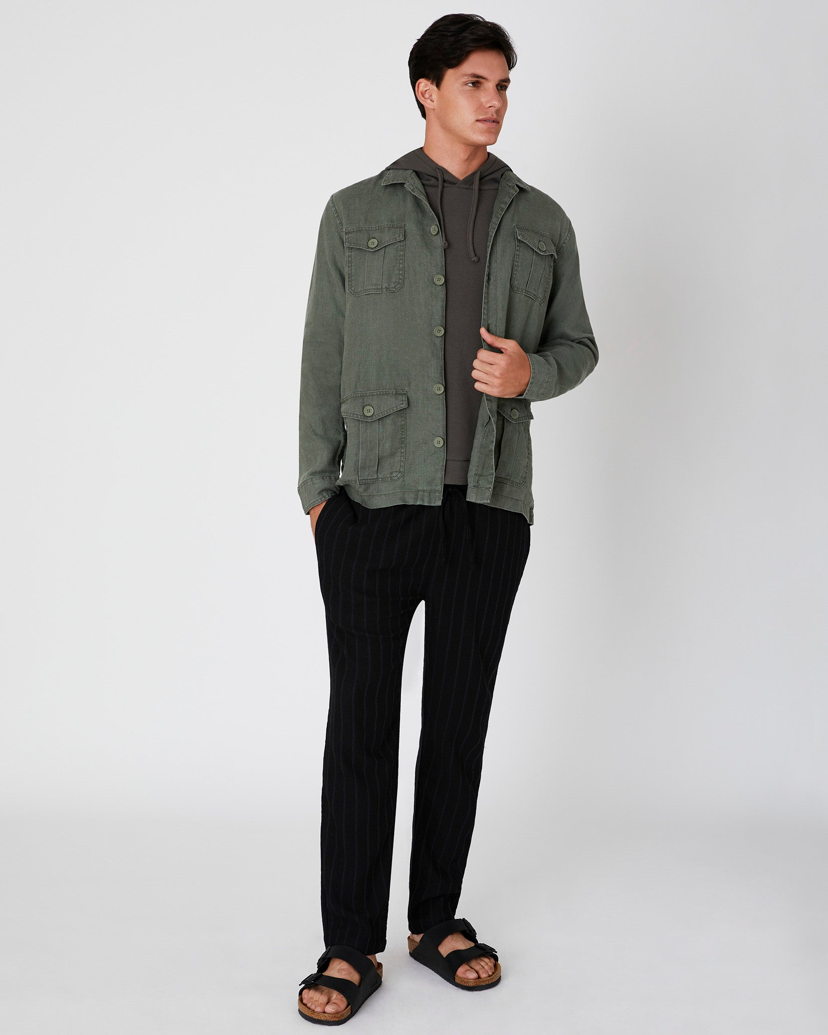 Linen Safari Jacket in Deep Sage - 8 - Onia