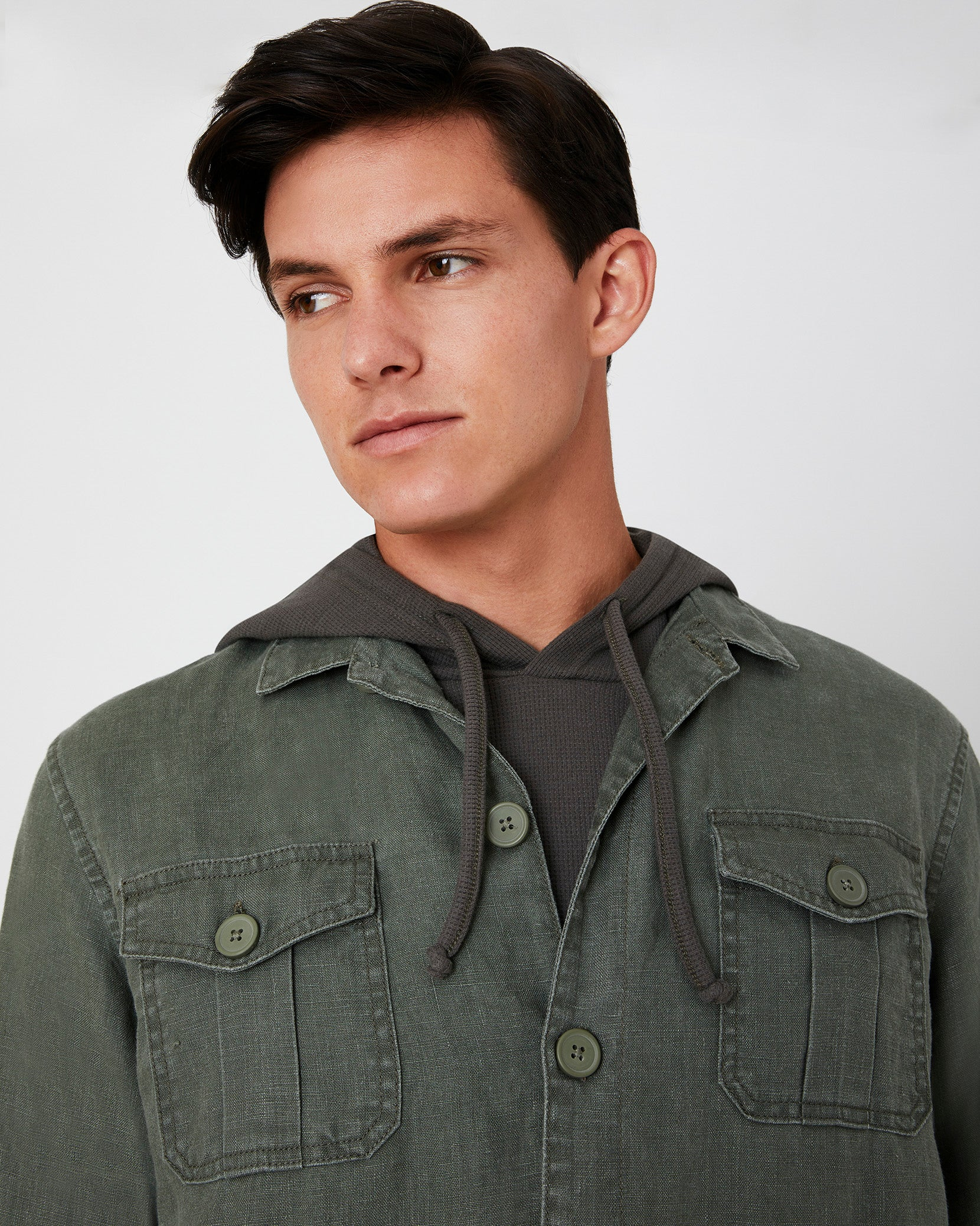 Linen Safari Jacket in Deep Sage - 6 - Onia