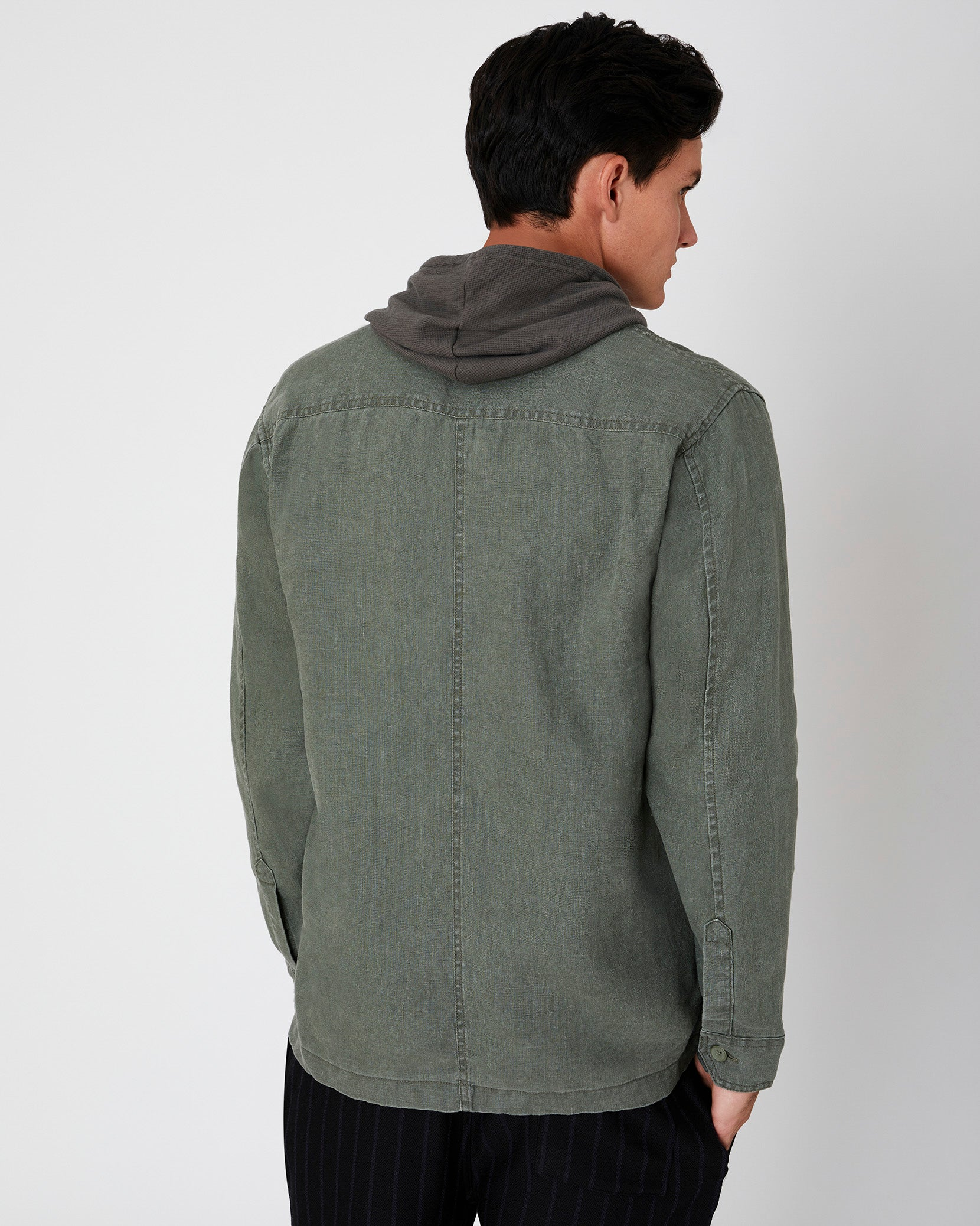 Linen Safari Jacket in Deep Sage - 7 - Onia