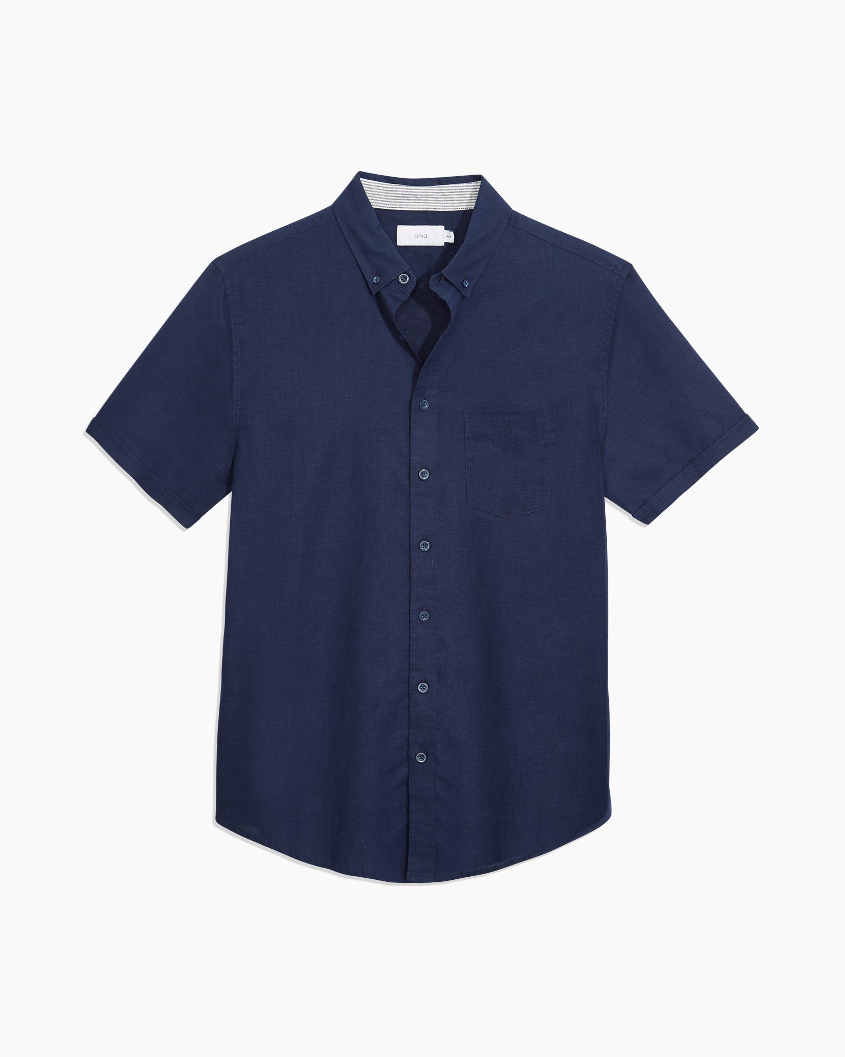 Stretch Linen Short Sleeve Shirt in Deep Navy - 7 - Onia