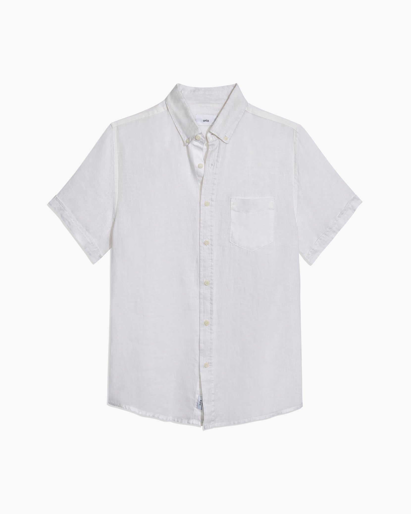 Stretch Linen Short Sleeve Shirt in White - 1 - Onia