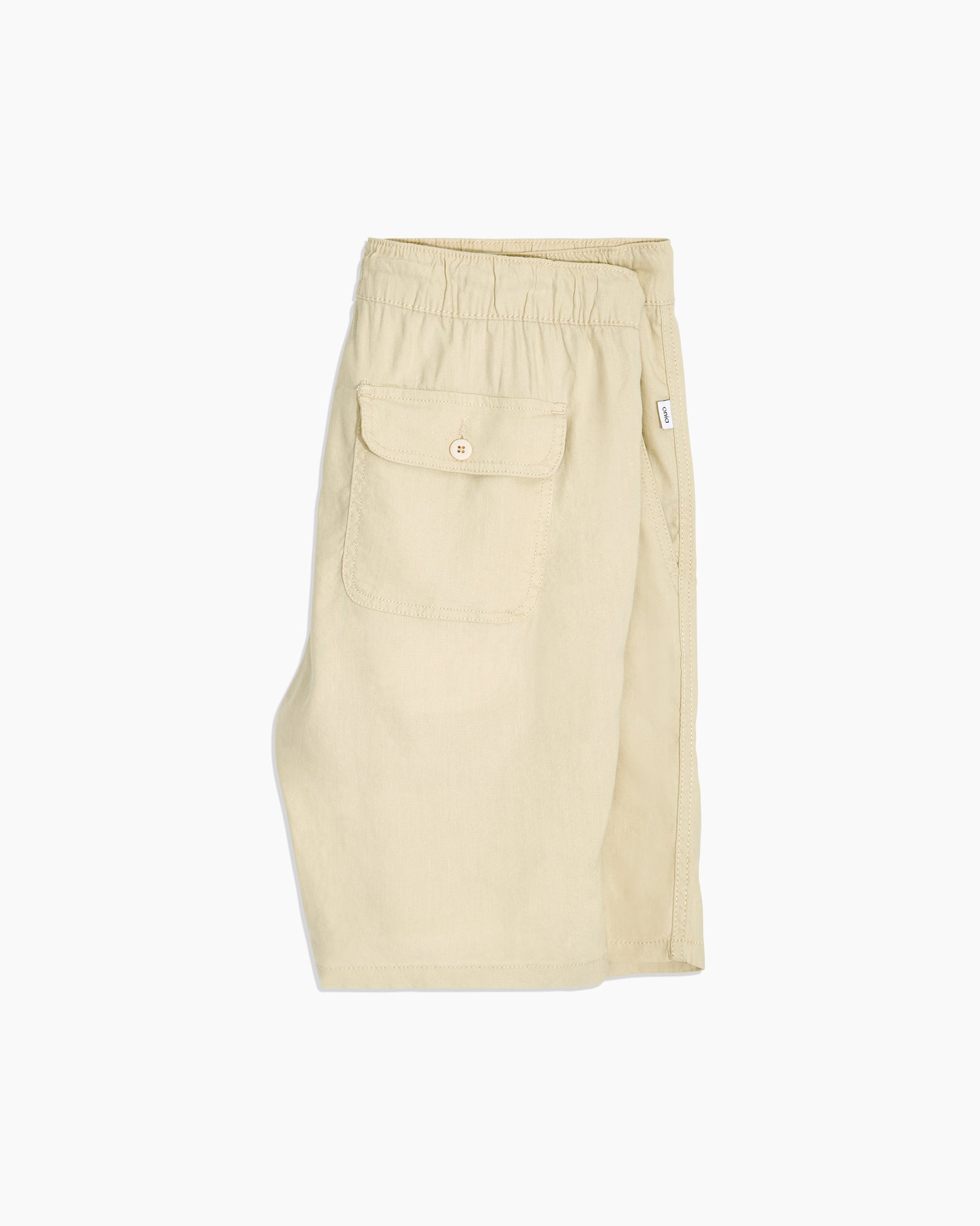 Noah Full Elastic Linen Short in Beige - 3 - Onia