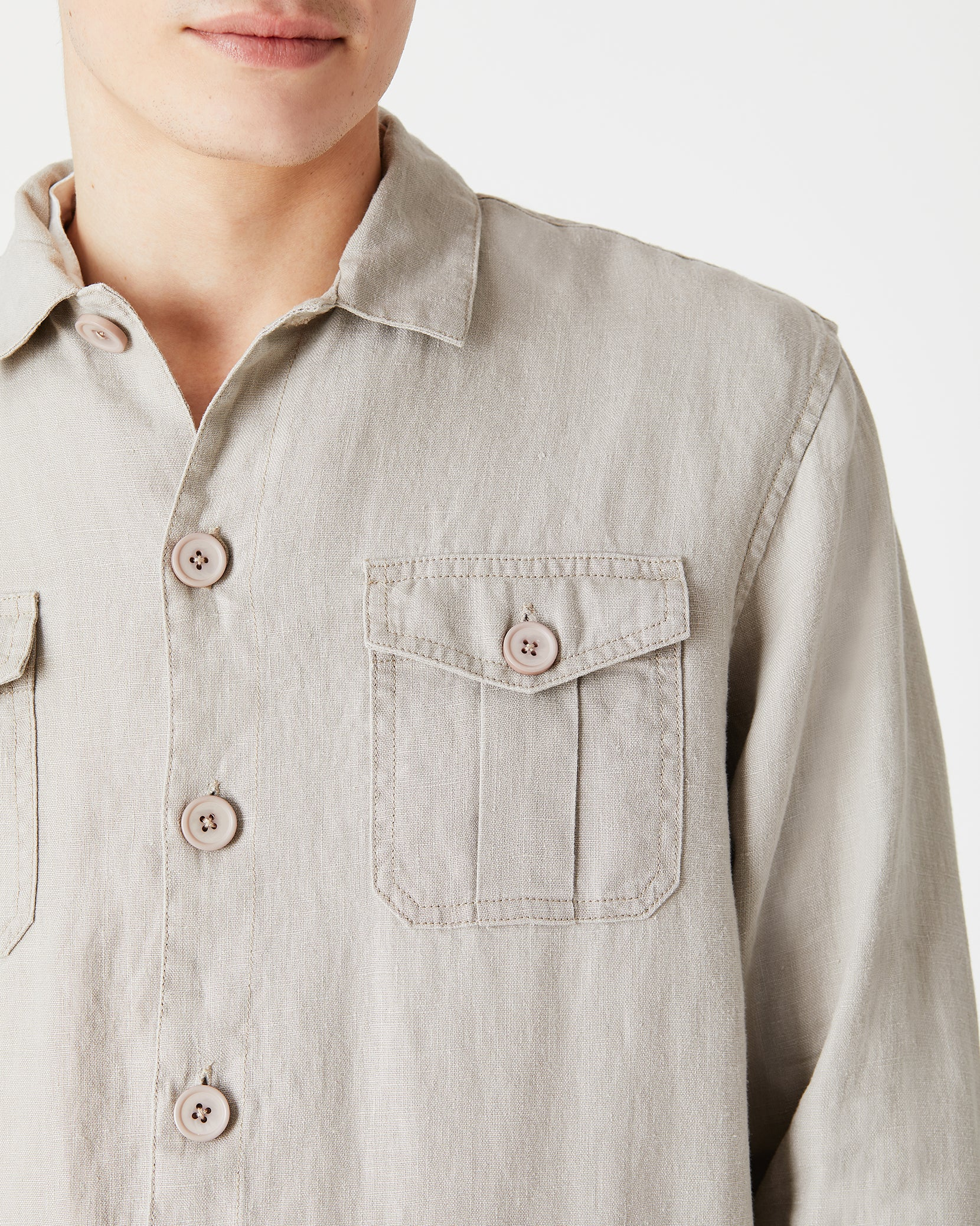 Linen Safari Jacket in Dune - 2 - Onia