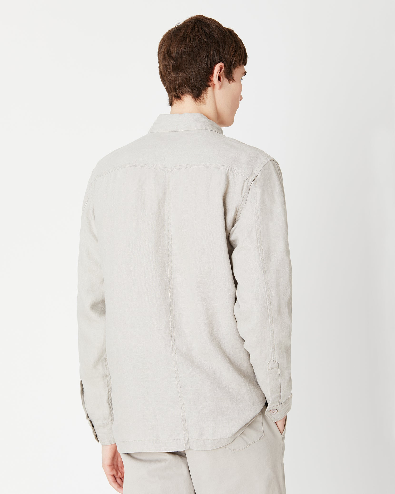 Linen Safari Jacket in Dune - 4 - Onia
