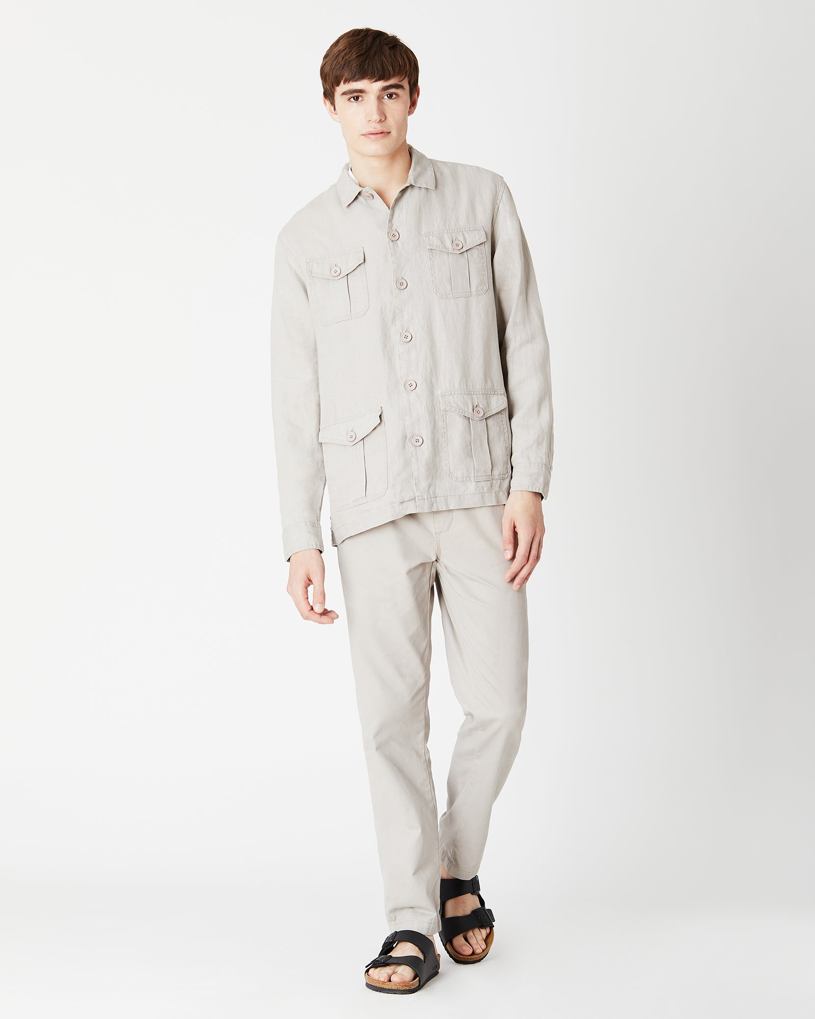 Linen Safari Jacket in Dune - 5 - Onia
