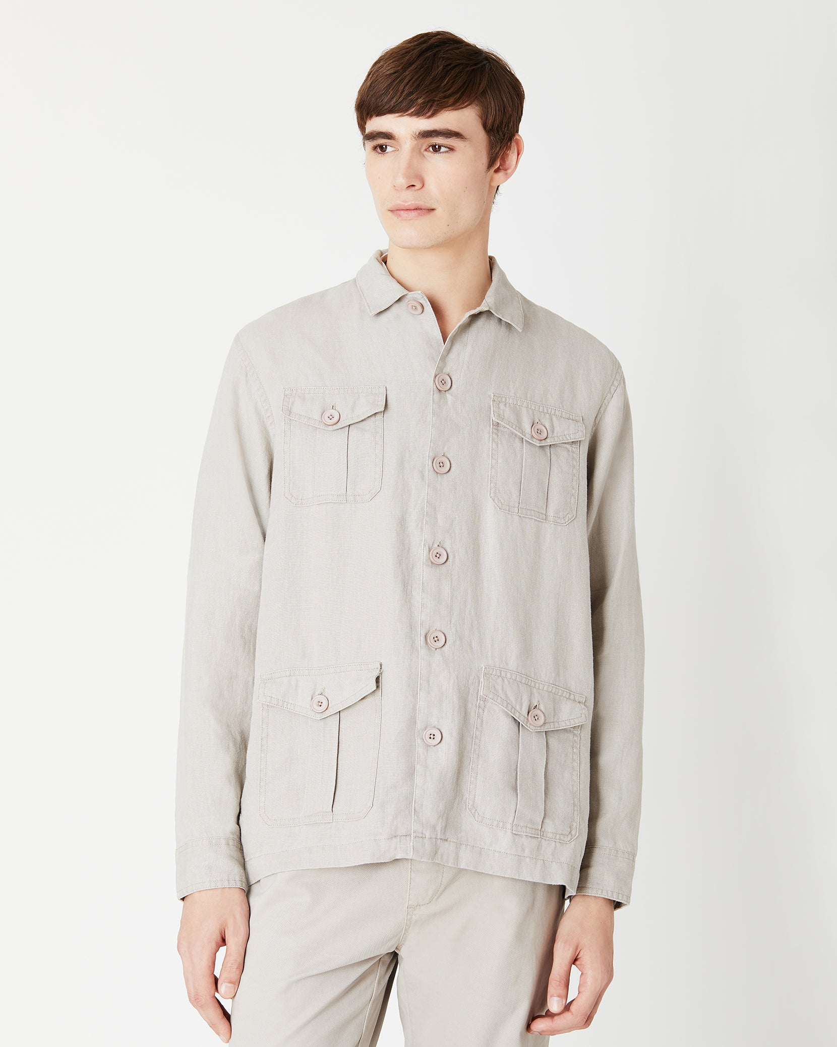 Linen Safari Jacket in Dune - 3 - Onia