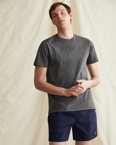 Garment Dyed Jersey Crewneck Tee in Charcoal - 35 - Onia