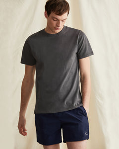 Garment Dyed Jersey Crewneck Tee in Charcoal - 34 - Onia