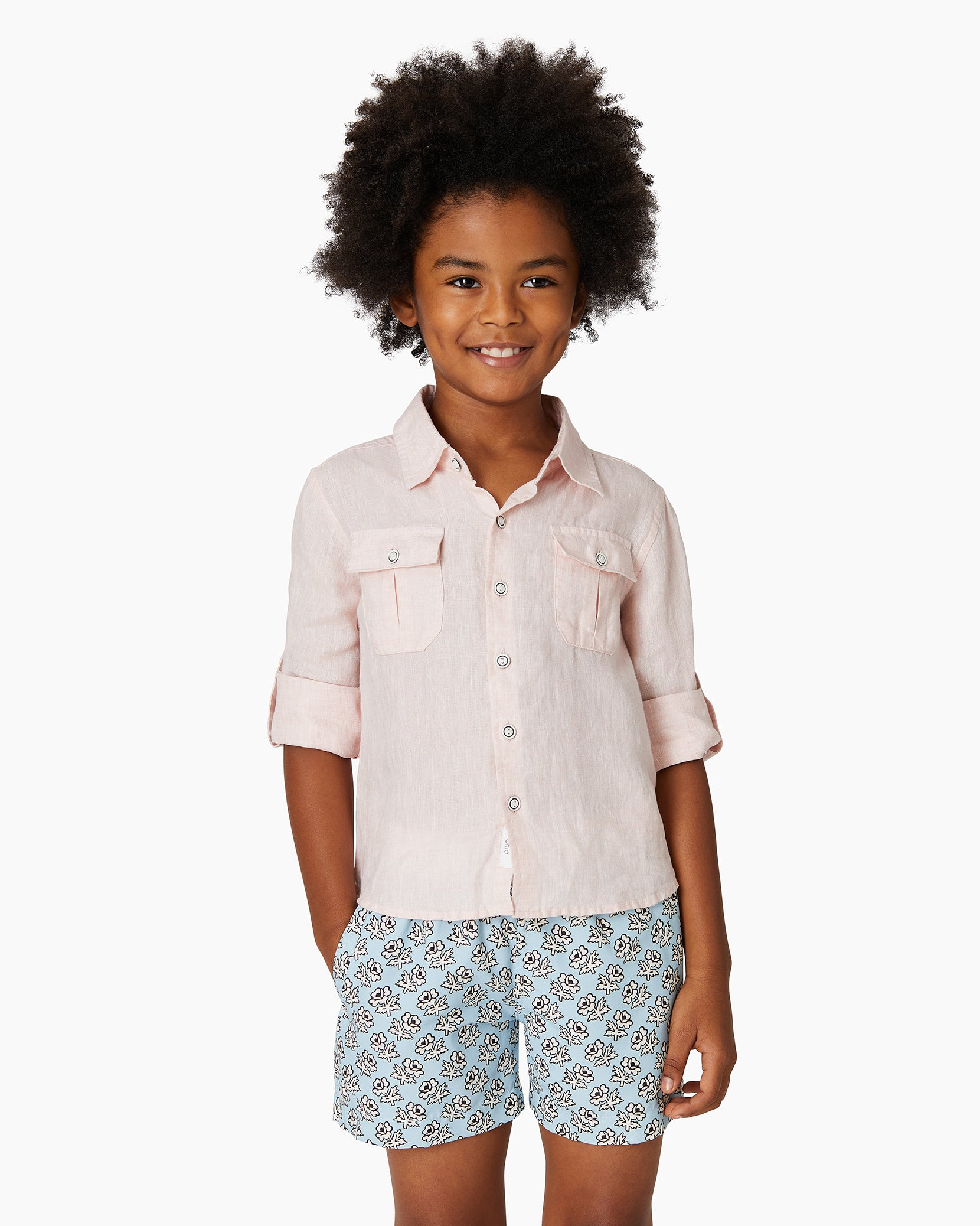 Boys Linen Garret Shirt in Petal - 8 - Onia