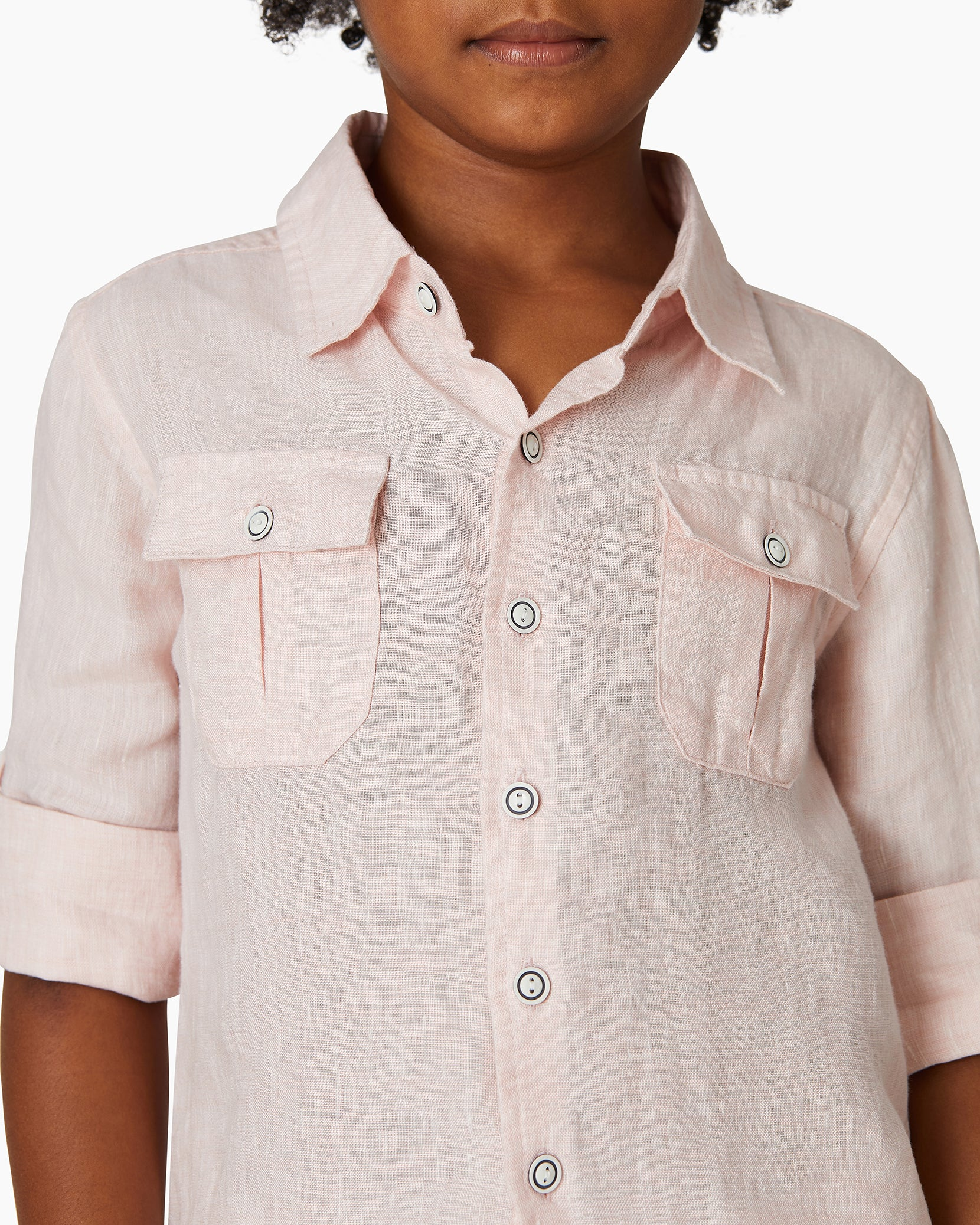 Boys Linen Garret Shirt in Petal - 10 - Onia