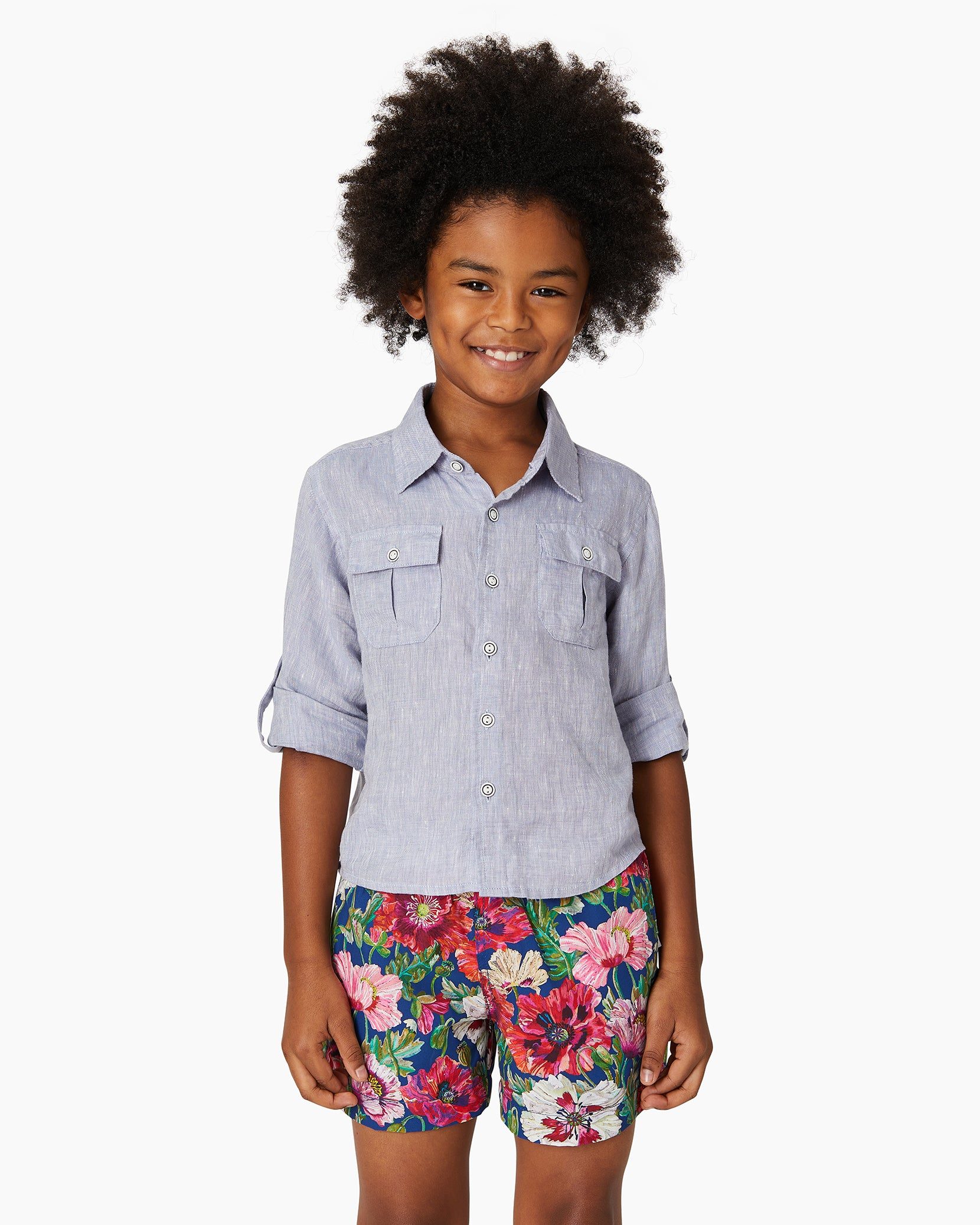 Boys Linen Garret Shirt in Denim - 4 - Onia