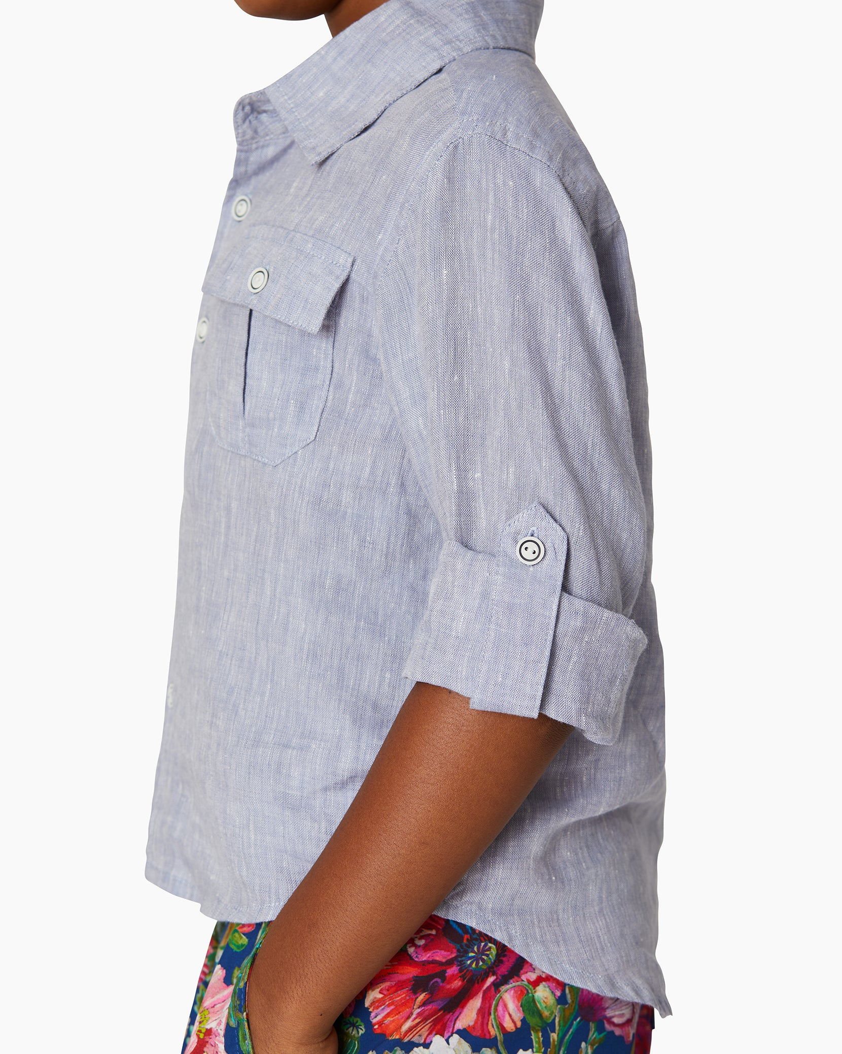 Boys Linen Garret Shirt in Denim - 5 - Onia