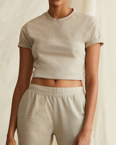 Garment Dyed Jersey Crewneck Tee in Heather Oatmeal - 23 - Onia