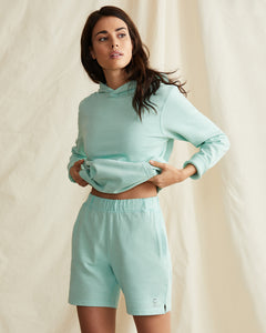 Garment Dyed French Terry Pullover Hoodie in Cool Mint - 12 - Onia