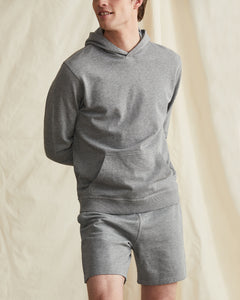 Garment Dyed French Terry Pullover Hoodie in Heather Grey - 16 - Onia