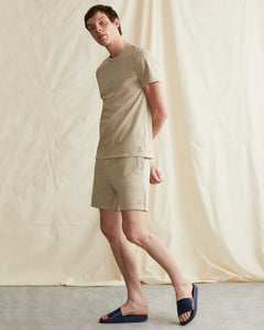 Garment Dyed French Terry Short in Heather Oatmeal - 5 - Onia
