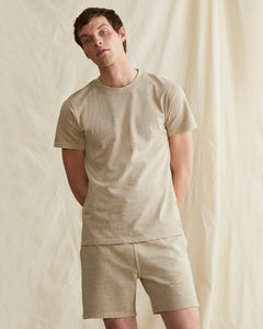 Garment Dyed Jersey Crewneck Tee in Heather Oatmeal - 21 - Onia