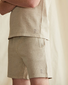 Garment Dyed French Terry Short in Heather Oatmeal - 4 - Onia