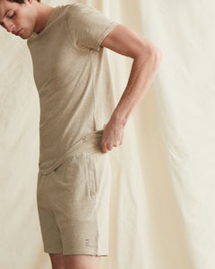 Garment Dyed French Terry Short in Heather Oatmeal - 2 - Onia