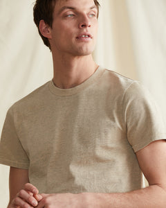 Garment Dyed Jersey Crewneck Tee in Heather Oatmeal - 22 - Onia