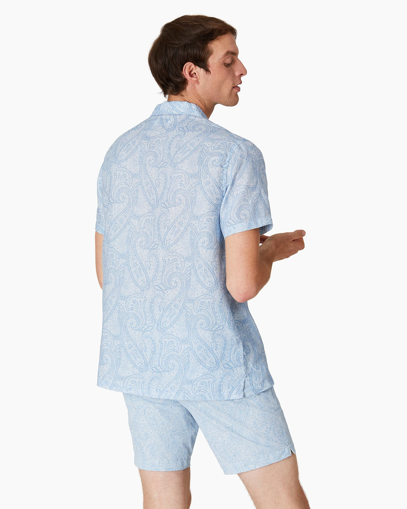 Paisley Linen Camp Shirt in Parisian Blue - 4 - Onia