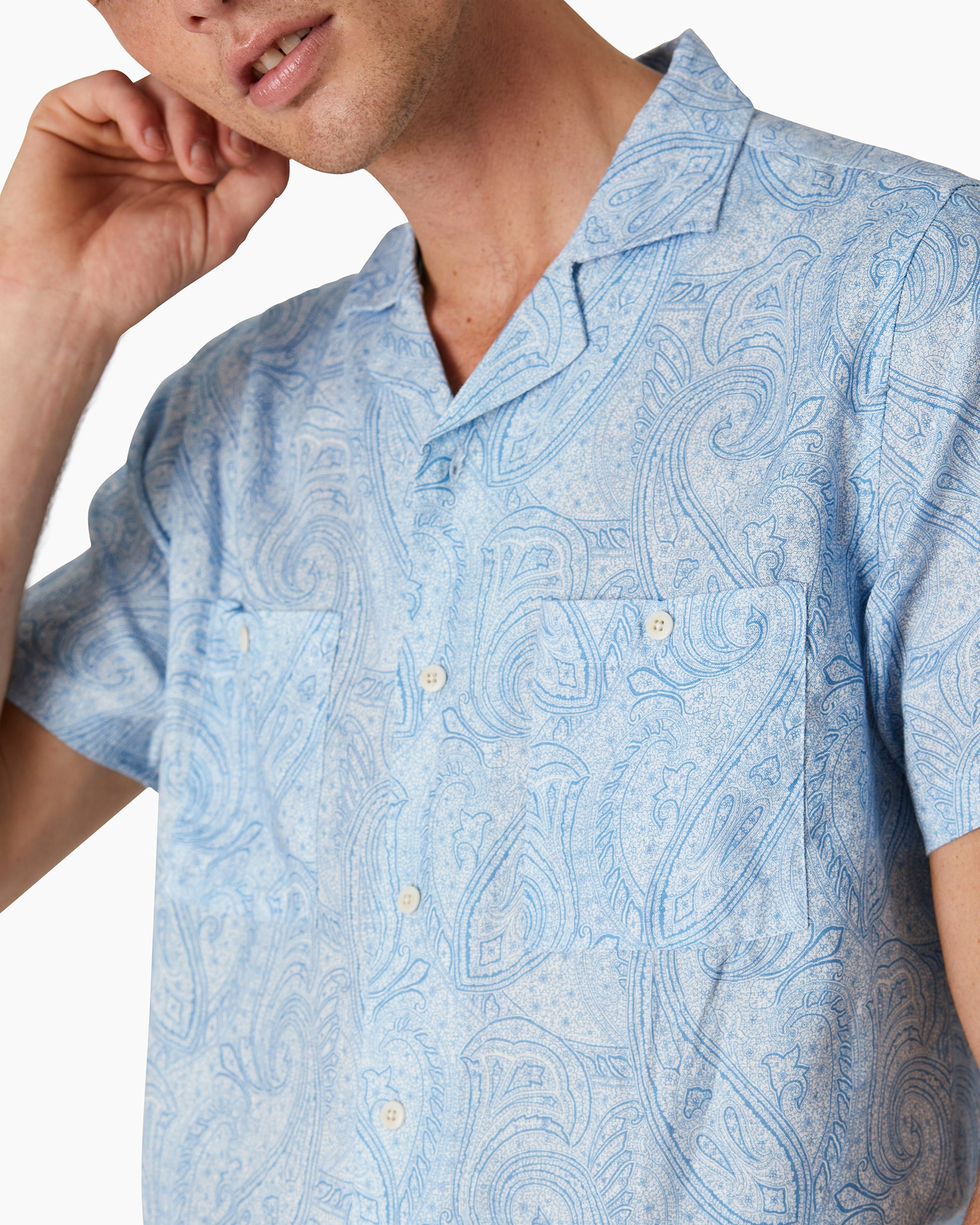 Paisley Linen Camp Shirt in Parisian Blue - 2 - Onia