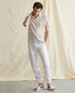 Elijah Herringbone Stretch Linen Pant in White - 4 - Onia