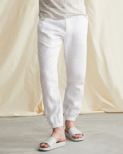 Elijah Herringbone Stretch Linen Pant in White - 3 - Onia