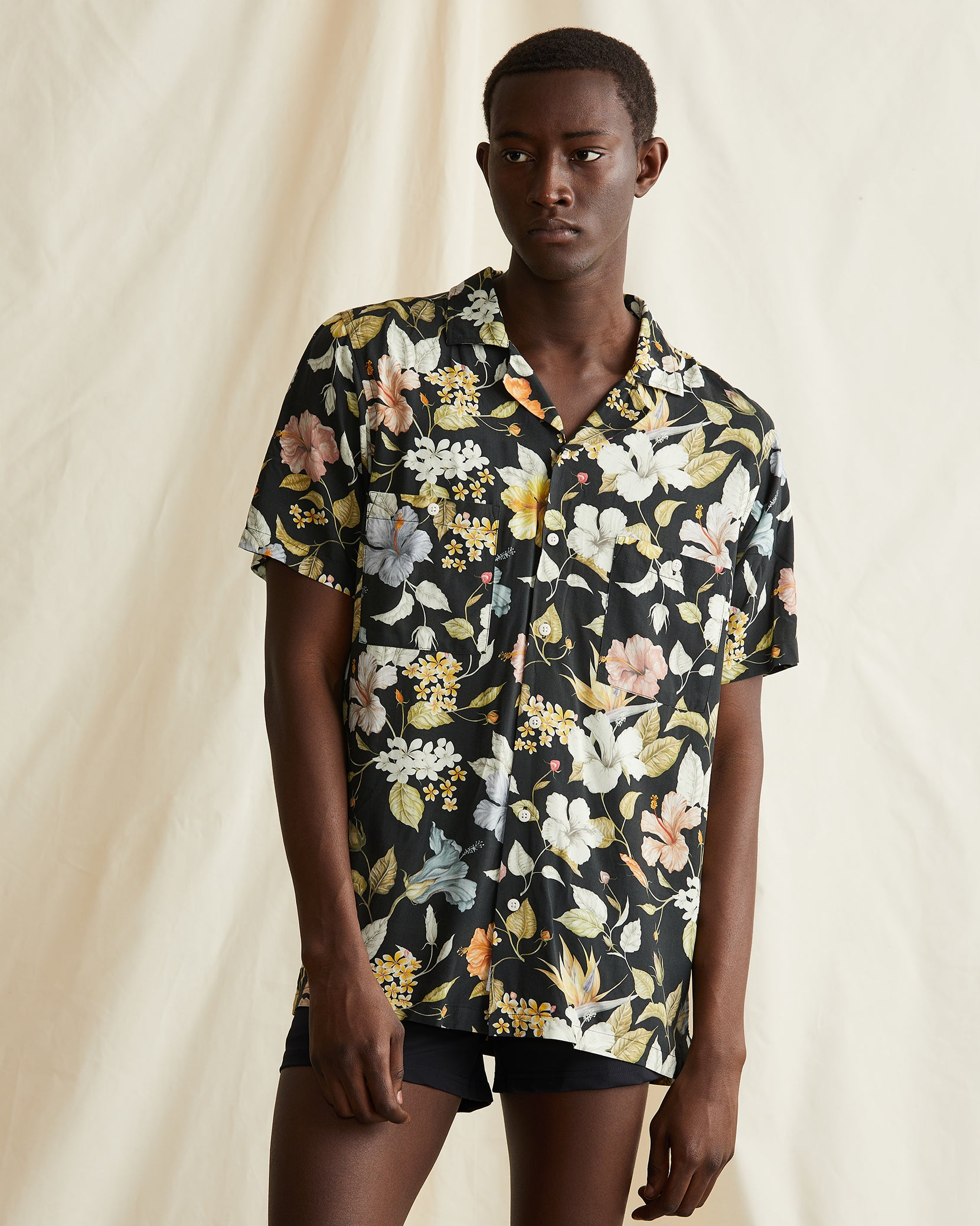 Vacation Liberty Hibiscus Shirt in Black - 2 - Onia