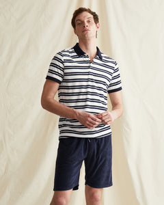Zach Stripe Towel Terry Polo in Deep Navy - 3 - Onia