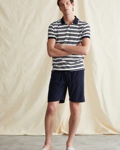 Zach Stripe Towel Terry Polo in Deep Navy - 5 - Onia