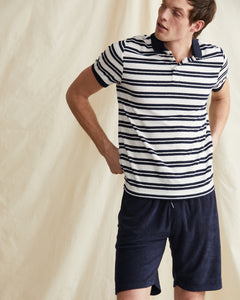 Zach Stripe Towel Terry Polo in Deep Navy - 2 - Onia