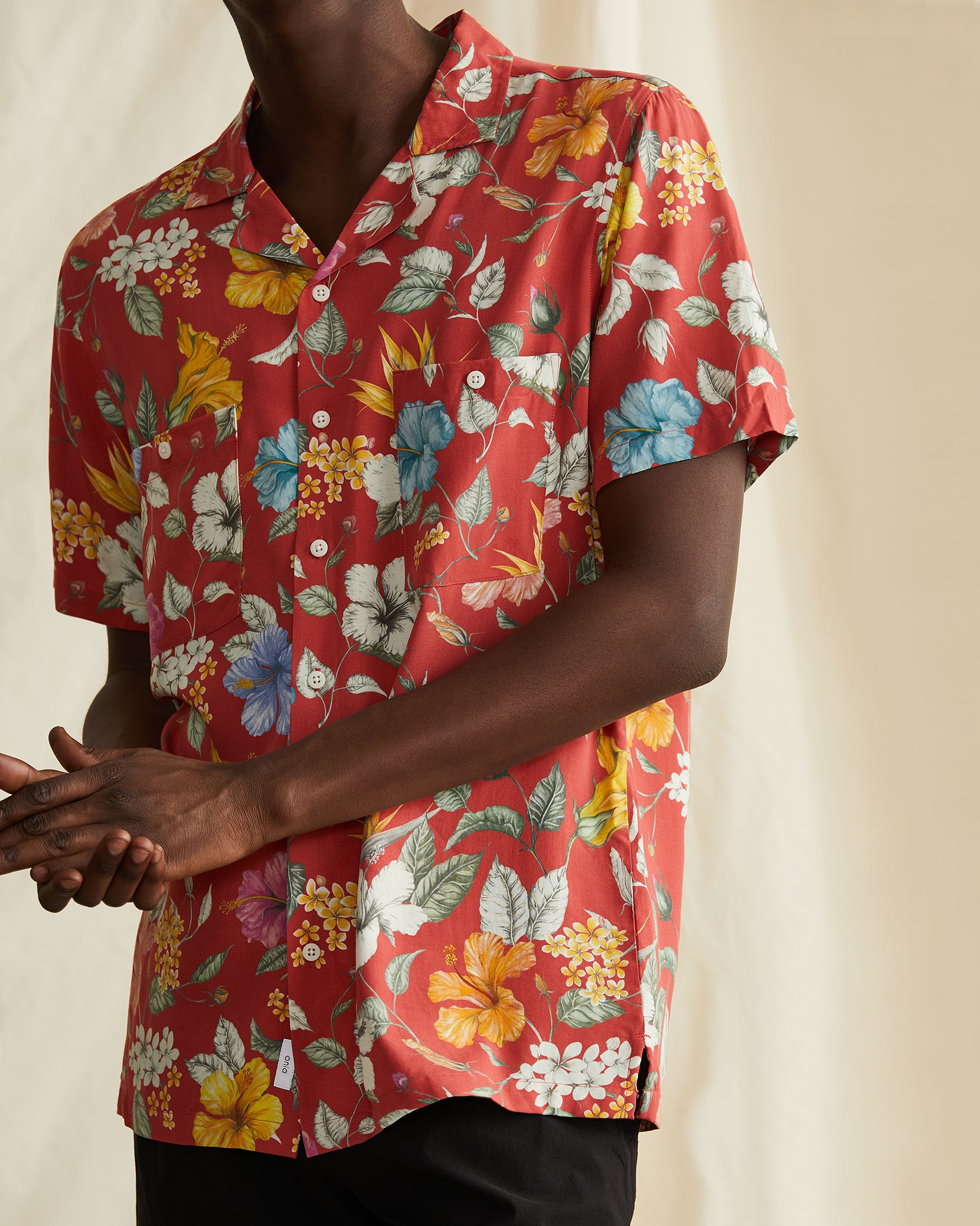 Vacation Liberty Hibiscus Shirt in Clay - 8 - Onia
