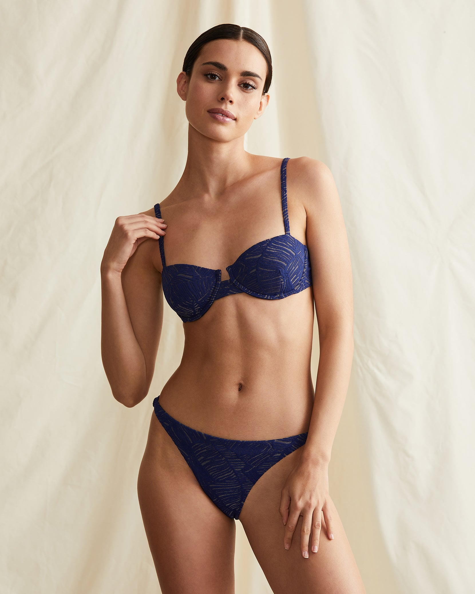 Ashley Palm Jacquard Bikini Bottom in Navy - 3 - Onia