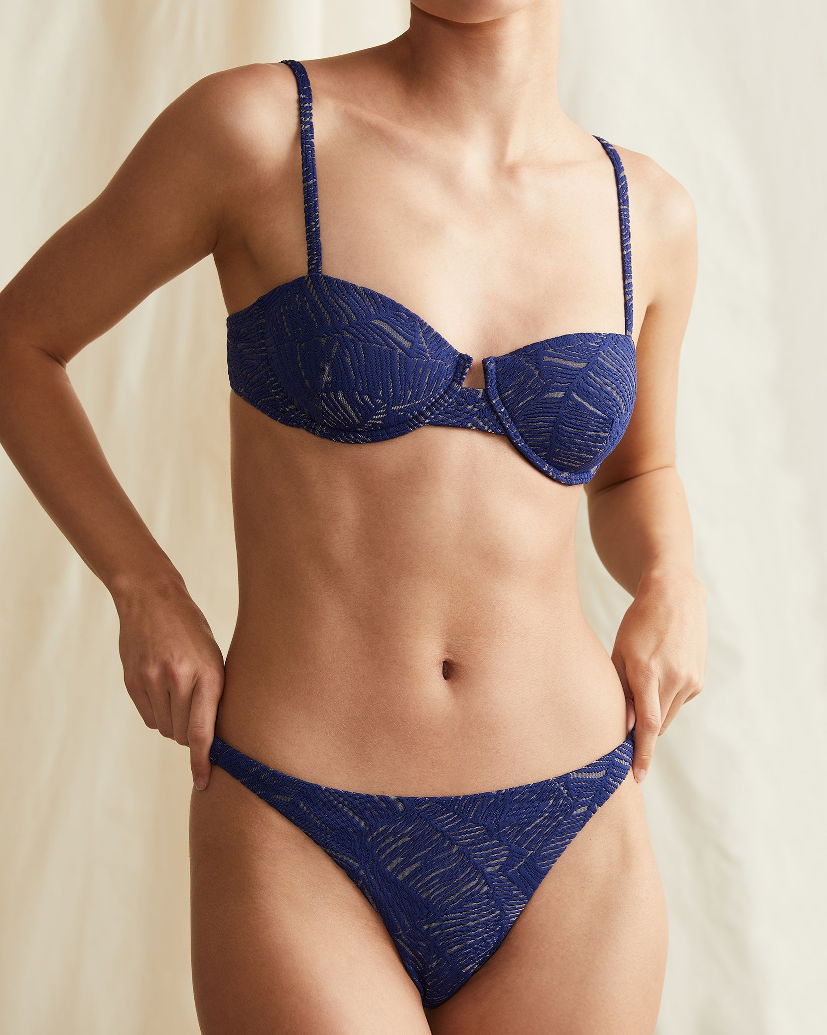 Ashley Palm Jacquard Bikini Bottom in Navy - 4 - Onia